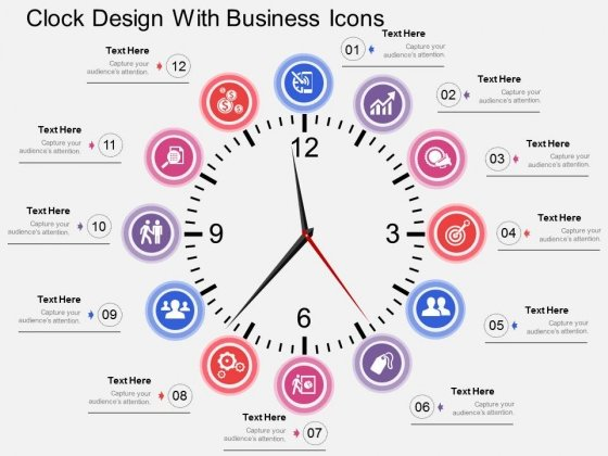 Clock Design With Business Icons Powerpoint Templates - PowerPoint - clock templates