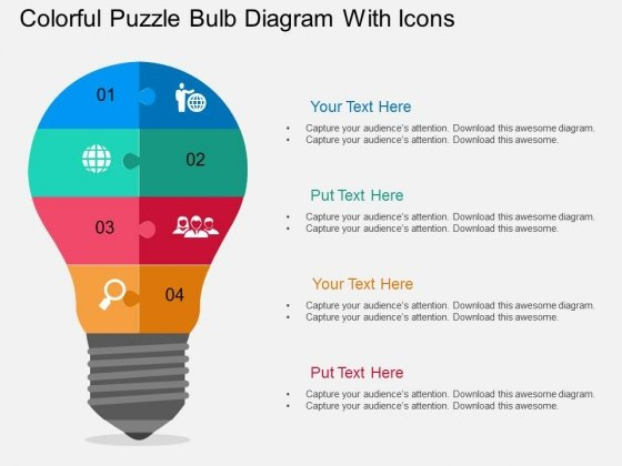 Colorful Puzzle Bulb Diagram With Icons Powerpoint Template - puzzle powerpoint template