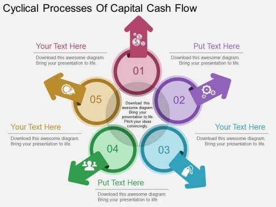 Cyclical Processes Of Capital Cash Flow Powerpoint Template