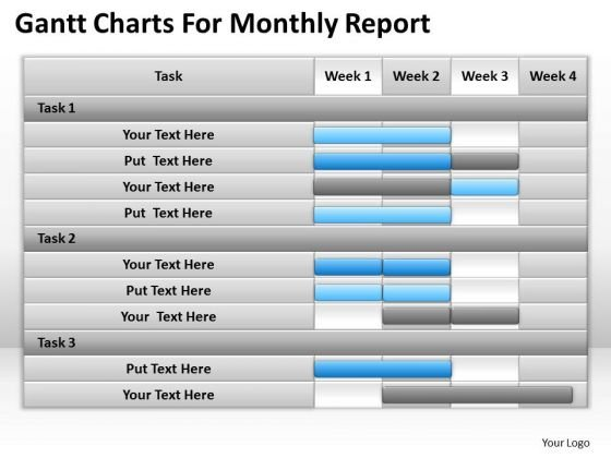 Consulting PowerPoint Template Gantt Charts For Monthly Report Ppt