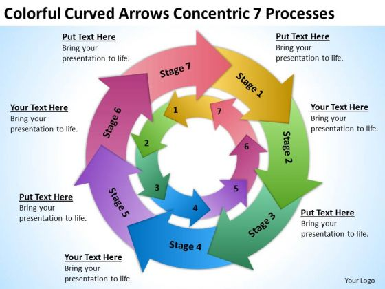 Curved Arrows Concentric 7 Processess Ppt Sample Nonprofit Business