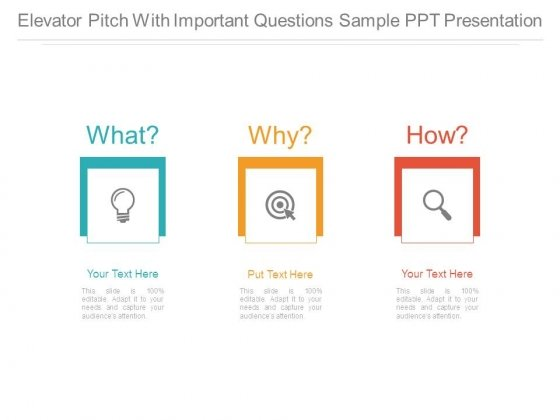 Elevator Pitch With Important Questions Sample Ppt Presentation