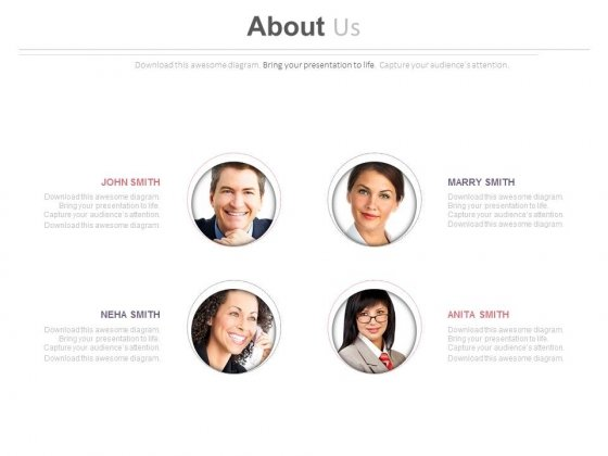 Employee Profile For Company About Us Page Powerpoint Slides