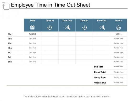Employee Time In Time Out Sheet Ppt PowerPoint Presentation Model