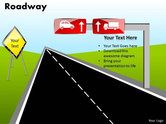 Editable Road PowerPoint Diagram With Editable Road Signs Ppt Slides