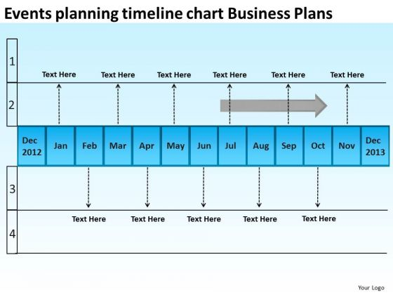 Events Planning Timeline Chart Business Plans PowerPoint Templates