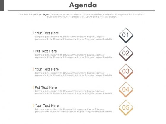 Five Steps To Present Business Agenda Powerpoint Slides - PowerPoint