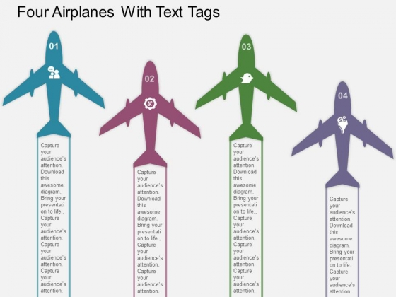 Four Airplanes With Text Tags Powerpoint Templates - PowerPoint