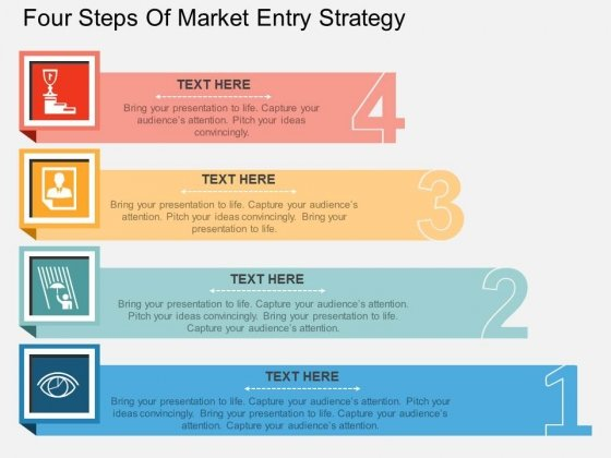 Four Steps Of Market Entry Strategy Powerpoint Template - PowerPoint - market template