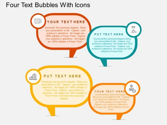 Four Text Bubbles With Icons Powerpoint Templates - PowerPoint Templates