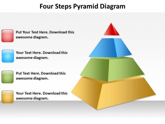 Four Steps Pyramid Diagram Templates PowerPoint Chart - PowerPoint