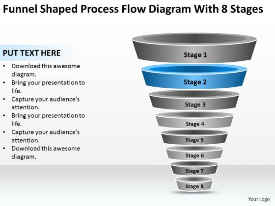 Funnel Shaped Process Flow Diagram With 8 Stages Ppt Fitness