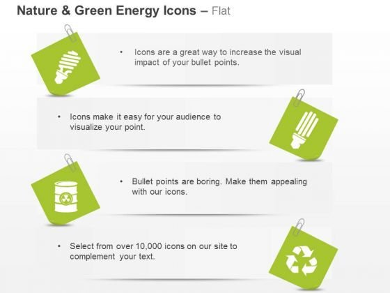 Green Energy Icons Cfl Recycle And Waste Management Ppt Slides - waste management ppt