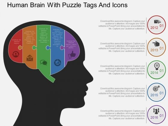 Human Brain With Puzzle Tags And Icons Powerpoint Template