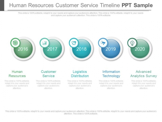 Human Resources Customer Service Timeline Ppt Sample - PowerPoint