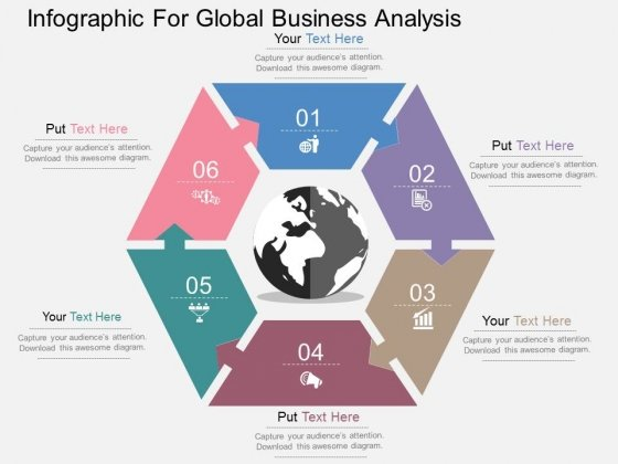 Infographic For Global Business Analysis Powerpoint Templates