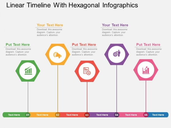 Linear Timeline With Hexagonal Infographics Powerpoint Template