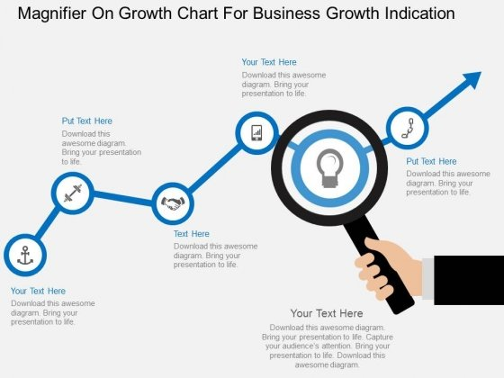 Magnifier On Growth Chart For Business Growth Indication Powerpoint