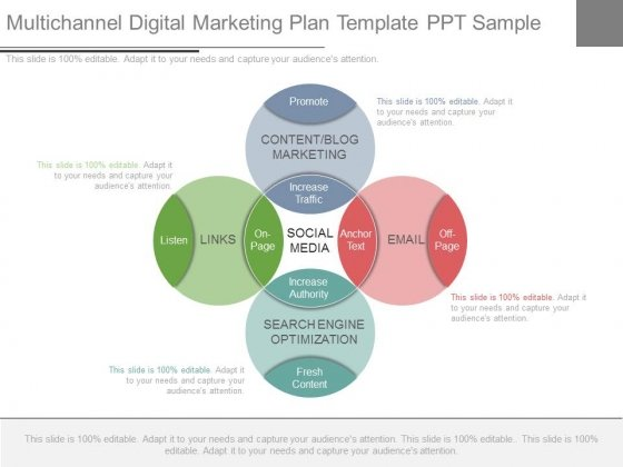 Multichannel Digital Marketing Plan Template Ppt Sample - PowerPoint - digital marketing plan template