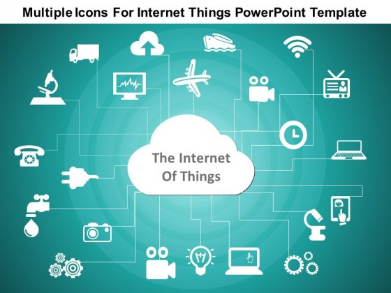 Multiple Icons For Internet Of Things Free PowerPoint Slide