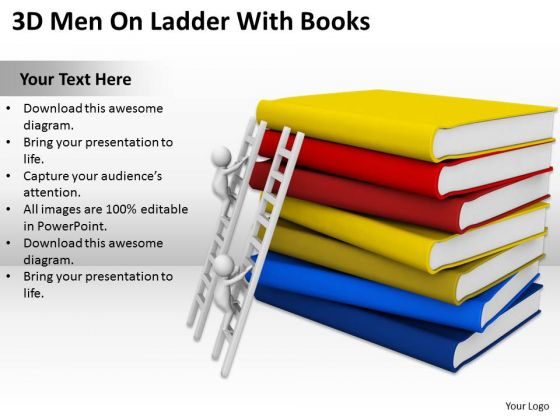Men In Business 3d On Ladder With Books PowerPoint Templates Ppt