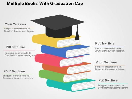 Multiple Books With Graduation Cap PowerPoint Template - PowerPoint - powerpoint books