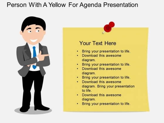 Person With Paper For Business Agenda Presentation Powerpoint
