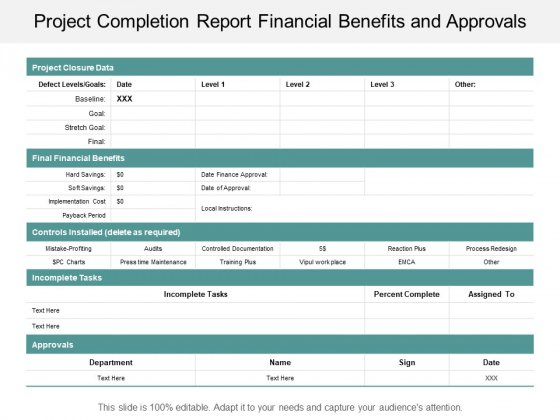 Project Completion Report Financial Benefits And Approvals Ppt