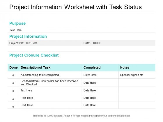 Project Information Worksheet With Task Status Ppt PowerPoint