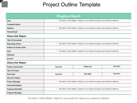 Project Outline Template Ppt PowerPoint Presentation Pictures
