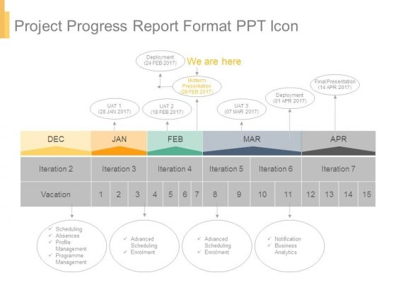 Project Progress Report Format Ppt Icon - PowerPoint Templates