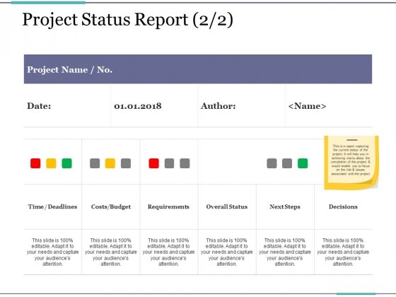 Project Status Report Template 2 Ppt PowerPoint Presentation Styles