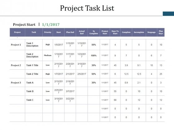 Project Task List Template 1 Ppt PowerPoint Presentation Gallery