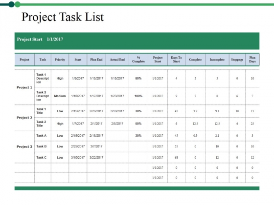 Project Task List Template 1 Ppt PowerPoint Presentation Pictures