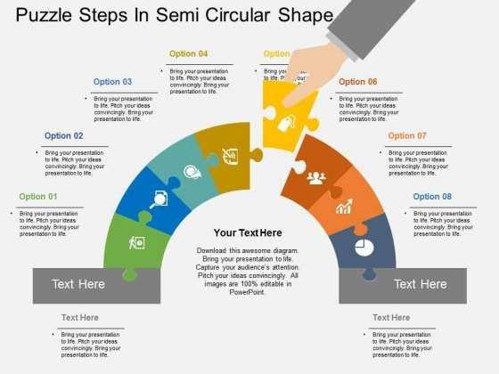 Puzzle Steps In Semi Circular Shape PowerPoint Template - PowerPoint
