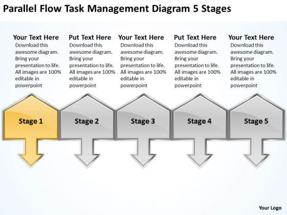 Parallel Flow Task Management Diagram 5 Stages Elements Business - business plan elements