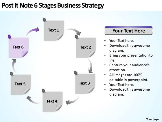 Post It Note 6 Stages Business Development Strategy Ppt Plan