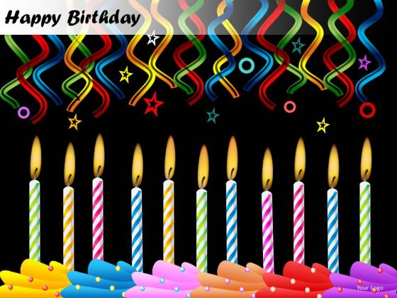 PowerPoint Templates Candles Happy Birthday Ppt Slide - PowerPoint
