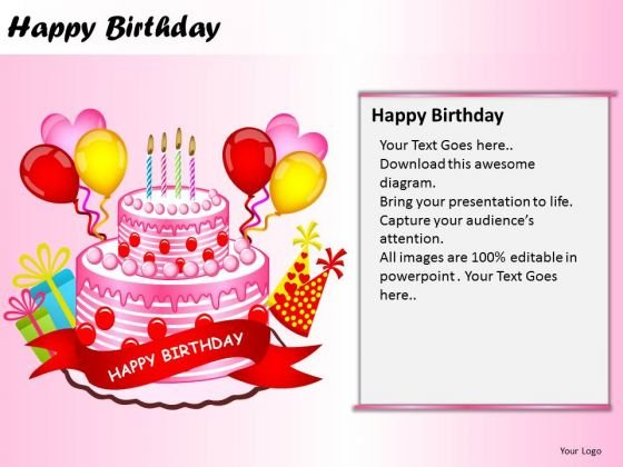 PowerPoint Themes Cake Happy Birthday Ppt Process - PowerPoint Templates