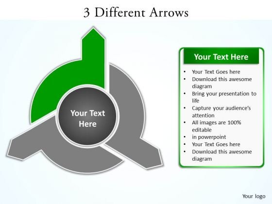 Ppt 3 Arrows PowerPoint Templates Different Directions Quiz Smartart - smartart powerpoint template
