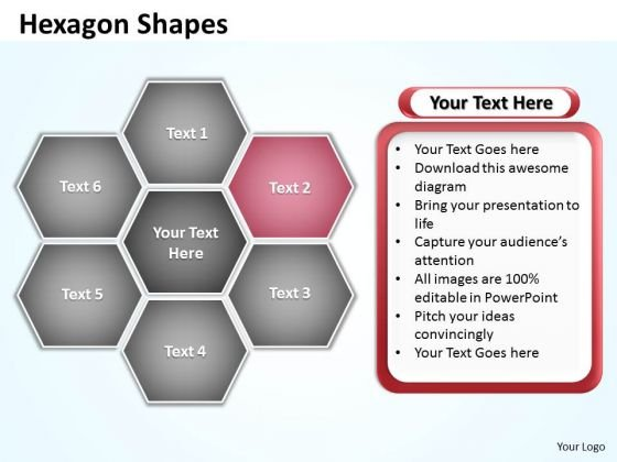 Ppt Hexagon Angles Shaped Chart Editable PowerPoint Templates 2007