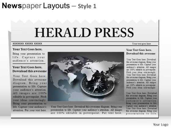 Ppt Template Editable Newspaper Headline PowerPoint Slide Graphics - Newspaper Headline Template