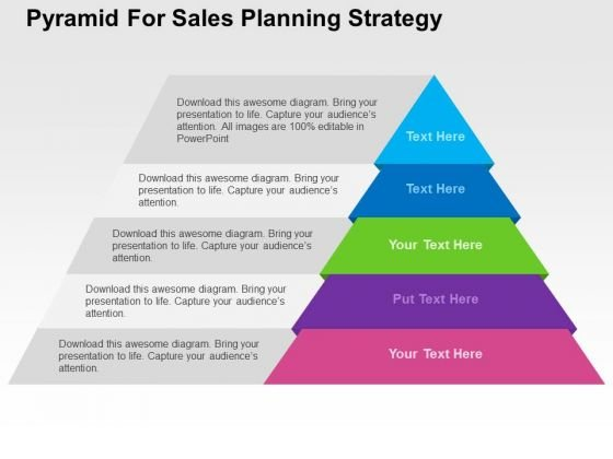 Pyramid For Sales Planning Strategy PowerPoint Template - PowerPoint