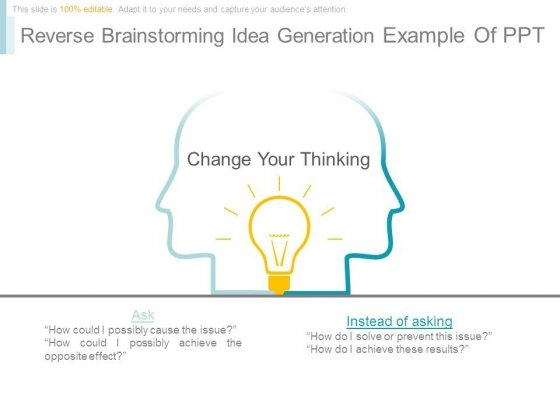 Reverse Brainstorming Idea Generation Example Of Ppt - PowerPoint