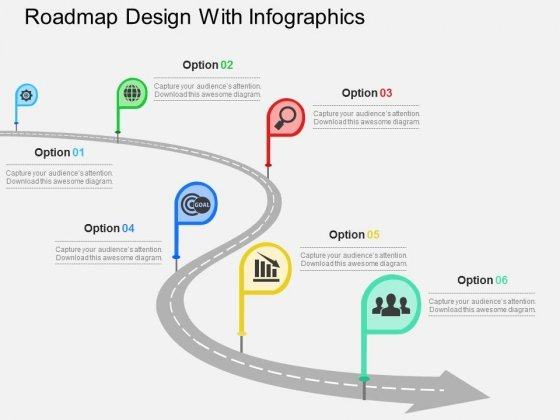 Roadmap Design With Infographics Powerpoint Templates - PowerPoint