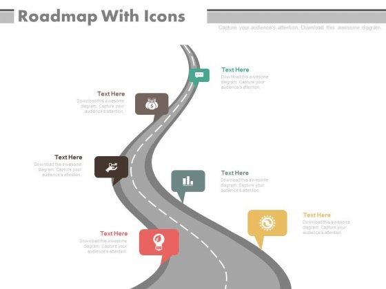 Roadmap Diagram With Icons For Business Milestones Powerpoint Slides