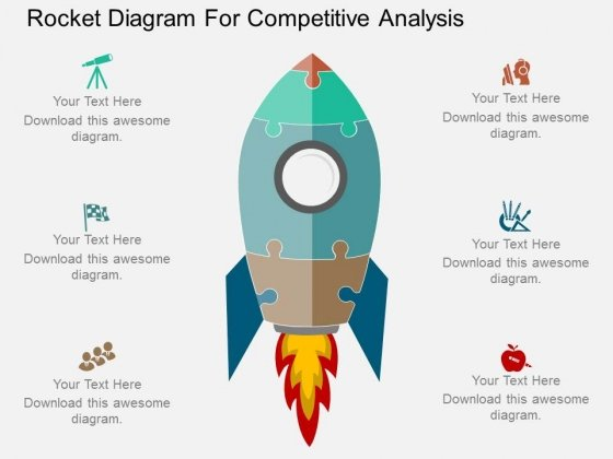 Rocket Diagram For Competitive Analysis Powerpoint Template