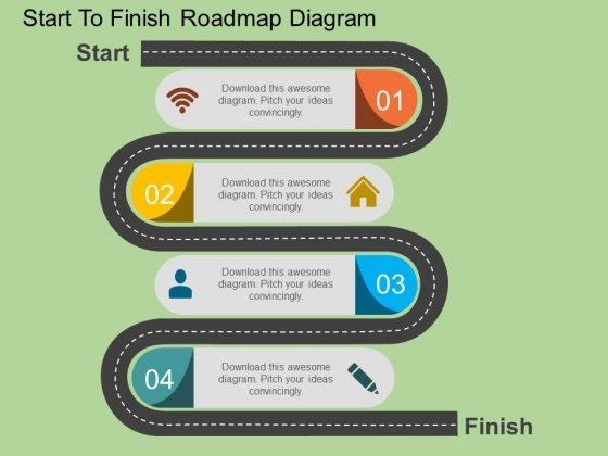 Start To Finish Roadmap Diagram Powerpoint Template - PowerPoint