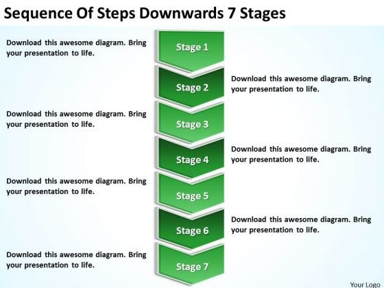 Sequence Of Steps Downwards 7 Stages Ppt Sample Business Continuity