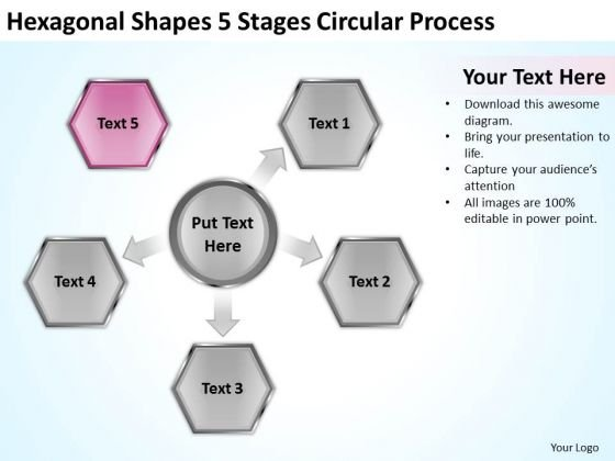 Shapes 5 Stages Circular Process Consulting Business Plan Template - consulting business plan template